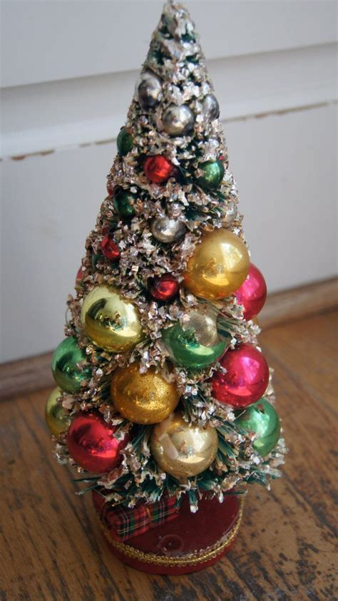 vintage bottle brush christmas tree with mercury glass