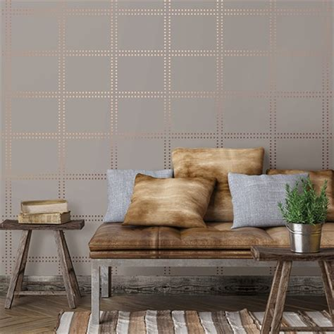 gridlock copper geometric wallpaper | 2697 22641 | modern geo