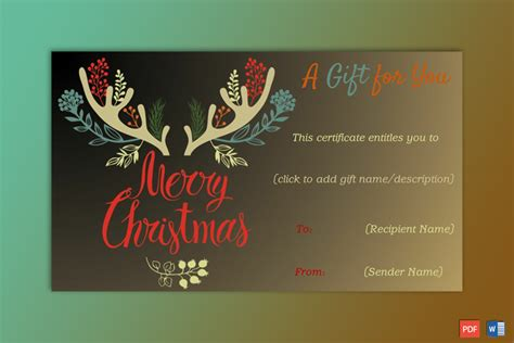 christmas gift certificate soft brown background gct