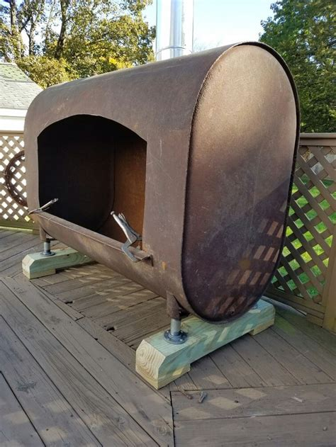 finished  oil tank fire pit heater