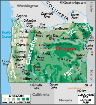 map of oregon mountains and rivers geography of oregon world atlas