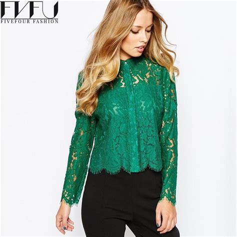 Blouseoutfit Galery Top new fashion blouses 2017 autumn green lace blouse sleeve tops