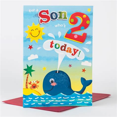 2nd Birthday Card 2nd Birthday Card For A Son Who S 2 Only 163 1 49