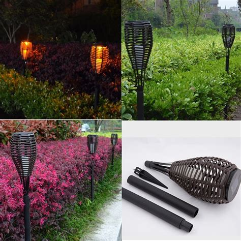 solar torch lights outdoor waterproof led solar rattan torch light landscape