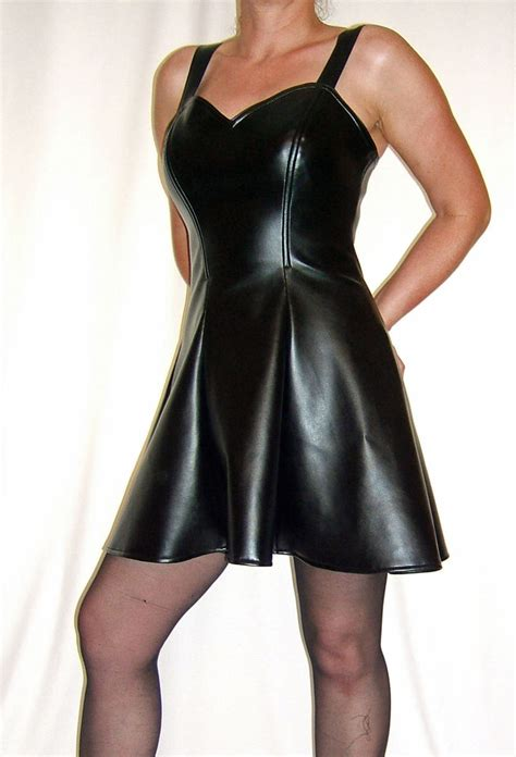 bnwt womans black faux leather cocktail mini dress all