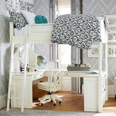 loft bed with a desk and vanity chelsea vanity loft bed pbteen