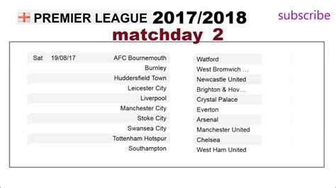 Epl Schedule 2017 | epl schedule english premier league fixtures 2017 2018