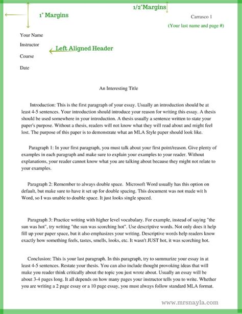 how do you write a paper in mla format mla style sle essay format www mrsnayla writing
