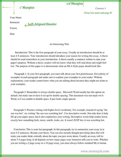 middle school sle essay mla style sle essay format www mrsnayla writing