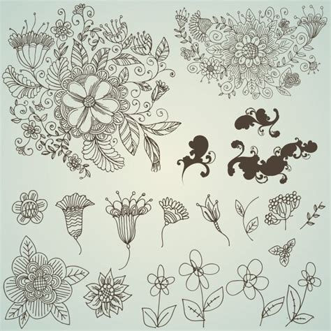 pattern drawing flower line drawing flower pattern vector free vector in