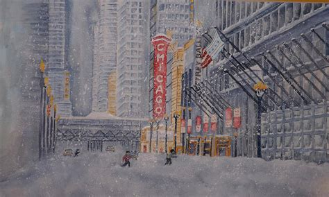 chicago snow painting by ragon - Chicago Stehle