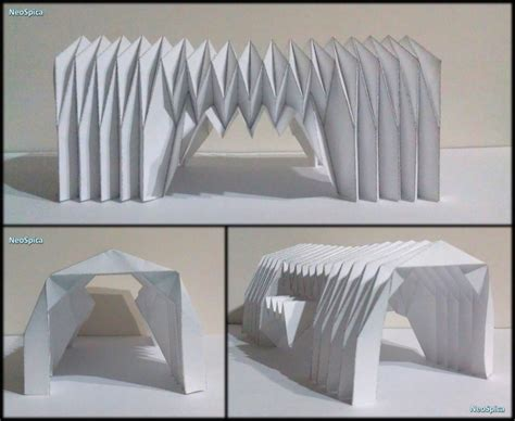 Folding Paper Architecture - paper barrel vault architecture origami folding v4 flickr