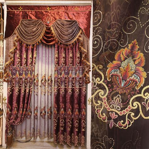high curtains high quality chenille fabric living room curtain with