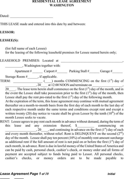 rental agreement template washington state washington rental agreement for free formtemplate