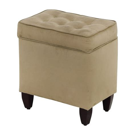 80 Off Beige Tufted Ottoman With Storage Chairs Beige Storage Ottoman
