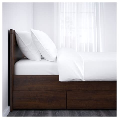 Ikea King Headboard Brusali Bed Frame With 4 Storage Boxes Brown Lur 246 Y Standard Ikea