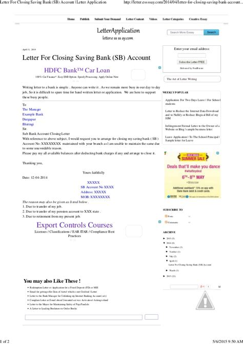 Closing Letter Application Letter For Closing Saving Bank Sb Account Letter Application