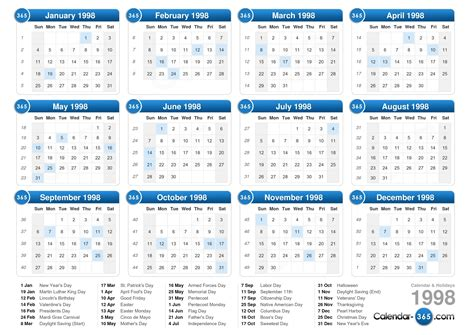 Calendã Em Semanas 1998 Calendar