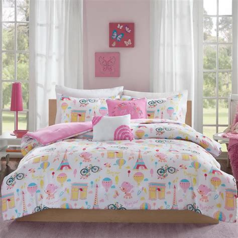 fun comforters beautiful modern chic pink yellow fun dog girls soft