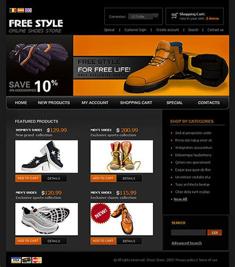 templates for a shoes stores websites – drawing inspiration