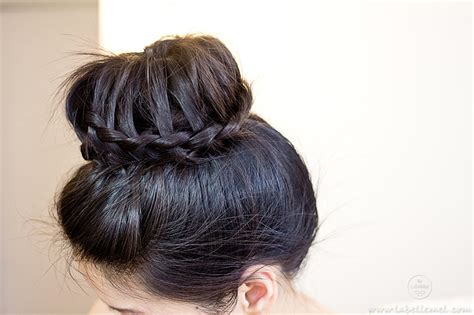 donut with a braid around it donut ponytail with braid crown braid step by step long