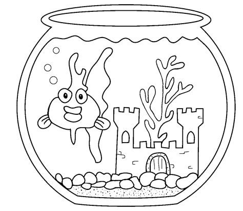 coloring page fish tank aquarium goldfish coloring pages