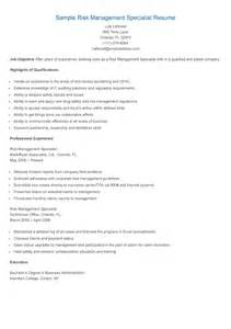 Risk Management Resume by Resume Sles Sle Risk Management Specialist Resume