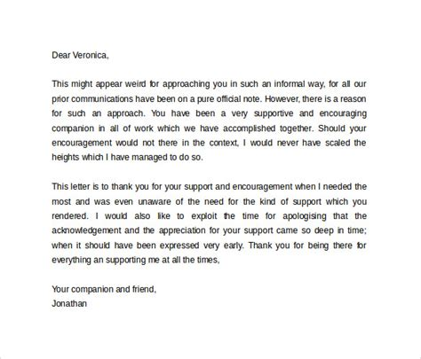 letter to friend of appreciation personal letter format 9 sles exles format
