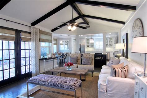 black wood beams transitional living room cote de