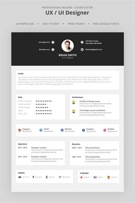 brian smith uxui designer resume template