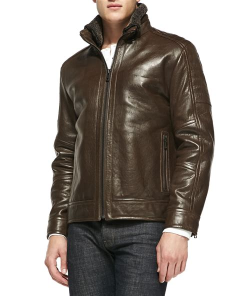 rugged leather jackets andrew marc shearling fur trim rugged leather jacket in brown for lyst