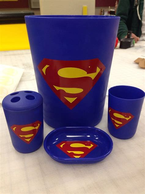 superman bathroom accessory set trash can soap holder