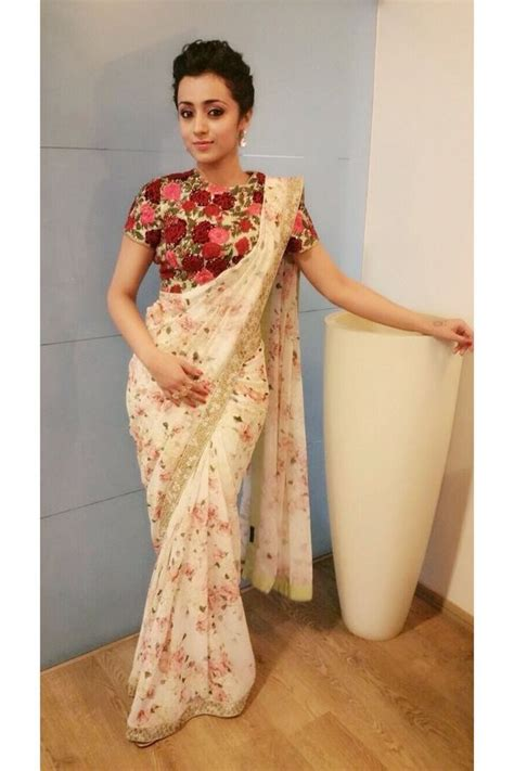 Floral Print Blouse Material For Saree by Floral Prints For Saris Go The Traditional Way Threads