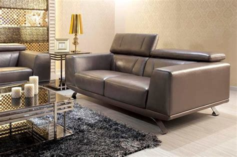 Grey Leather Sofa Modern Modern Metallic Grey Leather Sofa Set Leather Sofas