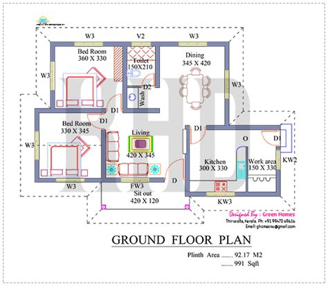 1170 square feet floor plan and elevation kerala home nano home plan and elevation in 991 square feet kerala home