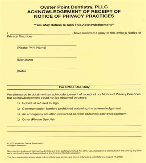 acknowledgement of receipt of notice of privacy practices template forms