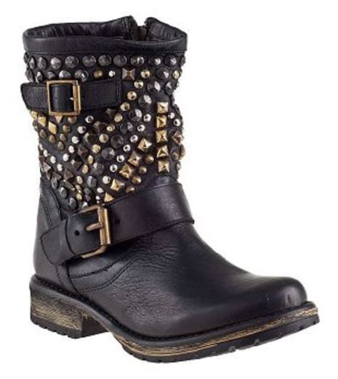 steve madden studded leather ankle boots in black