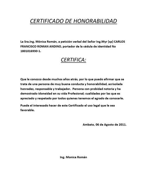 formato de un certificado formato de certificado de honorab