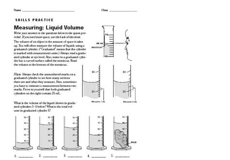 Reading A Meniscus Worksheet by Printables Reading A Graduated Cylinder Worksheet
