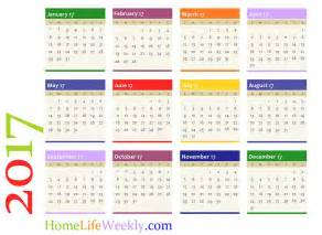 Single Page Calendar Template by Printable Calendar 2017 171 Home Weekly