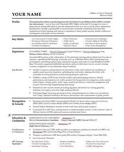 Officer Resumes by Officer Resume Skills Officer Resume Sles Marine Corps Cv