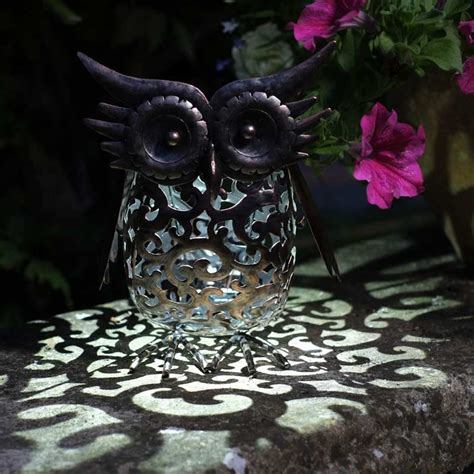 smart garden solar metal scroll owl light  sale fast