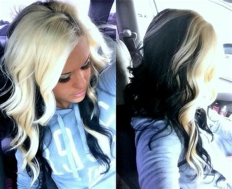 platinum blonde on the bottom and dark blonde om the top black n blonde hair hair blonde and black pinterest