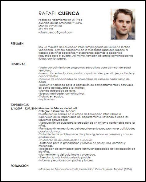modelo curriculum vitae maestro de educaci 243 n infantil livecareer
