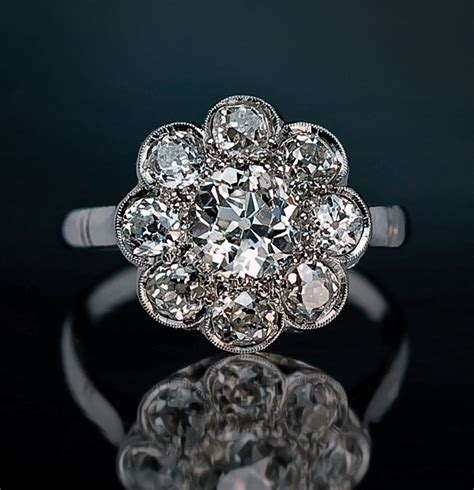 Antique 3 Ct Tw Diamond Cluster Engagement Ring   Antique