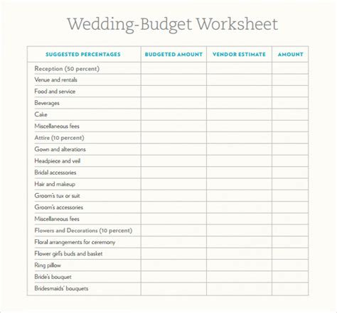 Wedding Budget Spreadsheet by Sle Wedding Budget 5 Documents In Word Excel Pdf