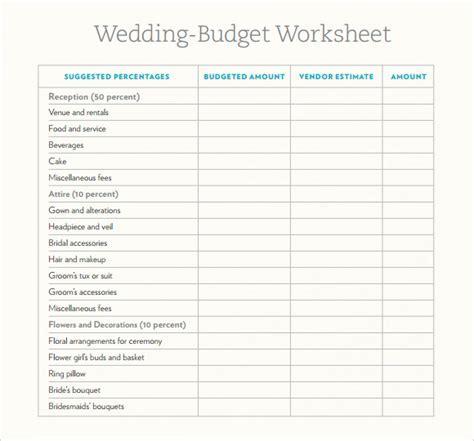 6  Wedding Budget Samples   Sample Templates