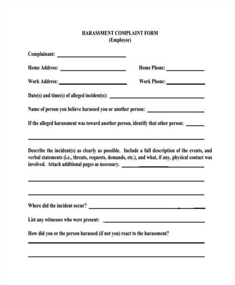 Sle Workplace Complaint Forms 8 Free Documents In Word Pdf Workplace Harassment Complaint Form Template