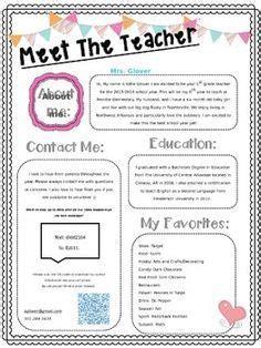 biography templates for teachers meet the teacher open house newsletter school ideas