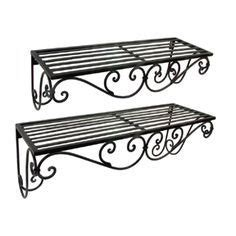 wrought iron bathroom shelves wrought iron curved window box brown finish set of 2
